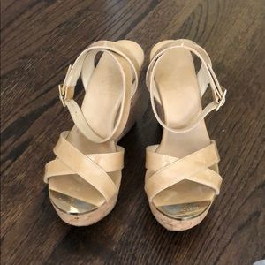 Jimmy Choo Patent Leather Nude Wedge